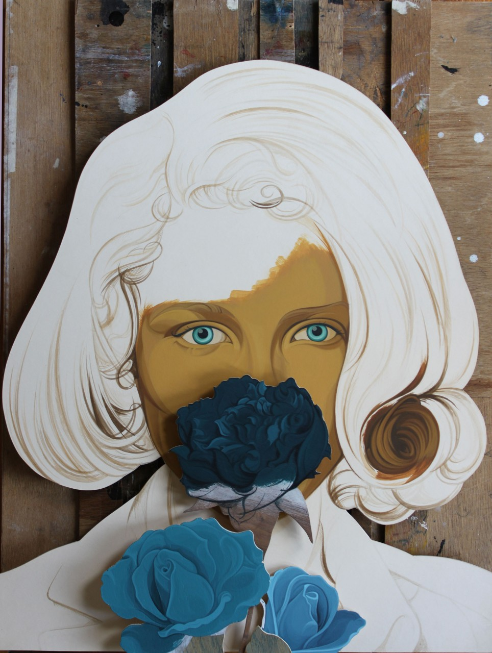 Flo, acrylic on board and wood offcuts, 66 x45x 8cm